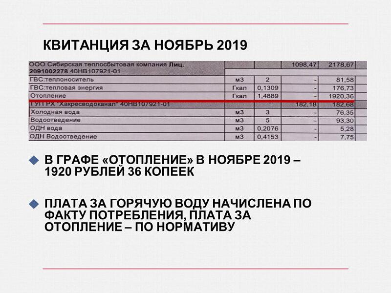 Начисления за ноябрь 2019 года (по нормативу) и за ноябрь 2020 года (по факту) будут отличаться на 351 рубль