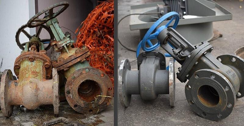 Прежде чем установить на трубы запорную арматуру, ее ревизируют, то есть проверяют исправность механизма и герметичность прокладки